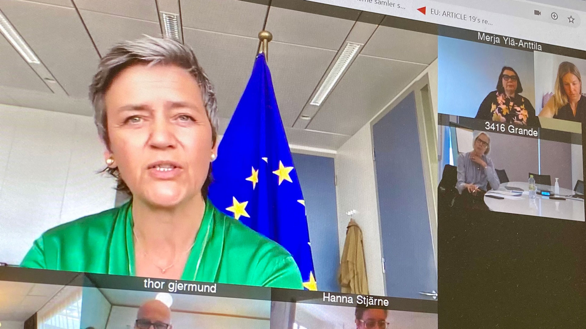 Margrethe Vestager in an online meeting